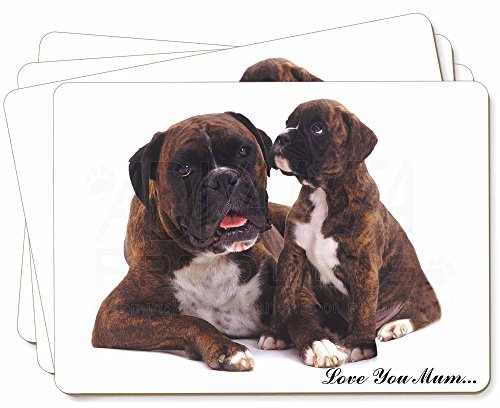 Boxer-Hund + Puppy 'Love You Mum' Bild Tischsets in Geschenkbox Weihnachten Tisc