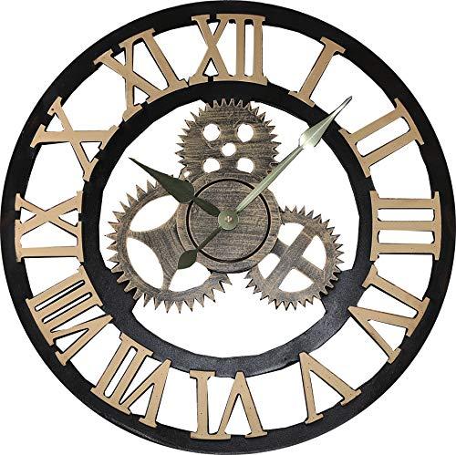 """Jcw 19.7""""(50CM) Redondo Reloj de Pared,Antiguo Hecho a Mano de Madera Vintage 3D Diseño de Gear (Golden)"""