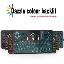 Mini teclado inalámbrico y ratón touchpad con retroiluminación tripsky Q9Colorful, 2,4GHz con mando a distancia para Android TV Box, Windows PC, HTPC, IPTV, Raspberry Pi, Xbox 360, PS3, PS4(negro, US Layout)