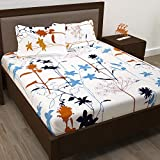 Story@Home Super-Soft Beautiful Tropical Patterns Vibrant Colors 100% Cotton Double Bed Sheet and 2 Pillow Covers (Yellow and White) डबल बेडशीट