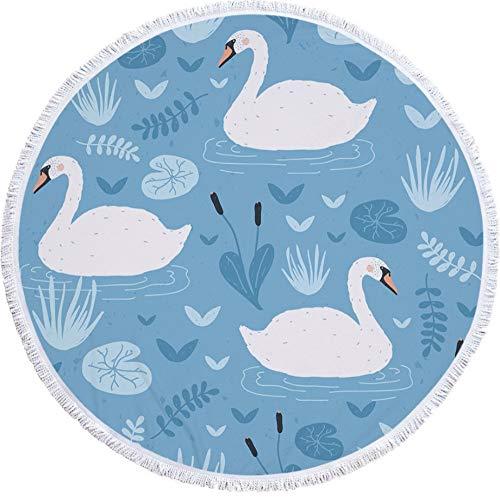 WANGXIAOYOU Digital Print Swan Muster, Fringe Lace Runde Strandtuch, Handtuch Bad Gobelin Yoga Matte Schal Picknickdecke, 150X150Cm (Kleinkind Handtücher Türkisches Bad)