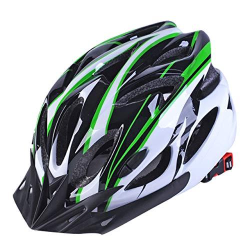 Cascos de Bicicleta Negro Mate Hombres Mujeres Casco de Ciclismo Luz Trasera MTB Mountain Road Bike Cascos de Bicicleta Moldeados integralmente (Color: Negro Verde Blanco)