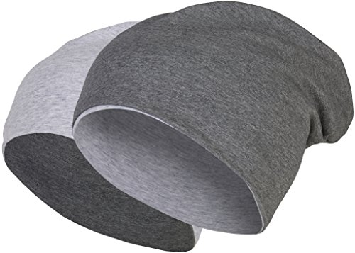 2 in 1 Wendemütze - Reversible Slouch Long Beanie Jersey Baumwolle elastisch Unisex Herren Damen Mütze Heather in 24 verschiedenen Farben (8) (Dark Grey / Light Grey)