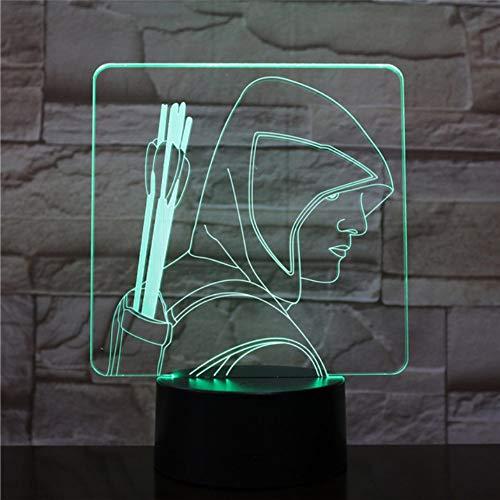 Flèche verte Figure LED Capteur tactile de lumière de nuit 7 Changement de couleur pour les enfants Lumière décorative pour enfants DC Comics américains Lampe de bureau lampe de chevet
