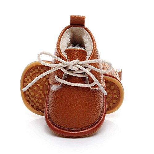 Chelsea Baby-krippe (Janly Boy Girl Mokassins Krippe Schuhe 0-2 Jahre Baby PU Erste Wanderer Newborn Rutschfeste Schuhe (0-6 Monate, Braun))