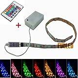 SUNTEC 50CM-100CM LED Leiste RGB Stripe Mehrfarbige mit Fernbedienung + Batterie Box (100CM)