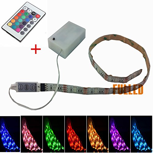 Suntec 50 cm di 100 cm LED Strip RGB Multicolore con telecomando + Batterie Box, rgb, 50cm