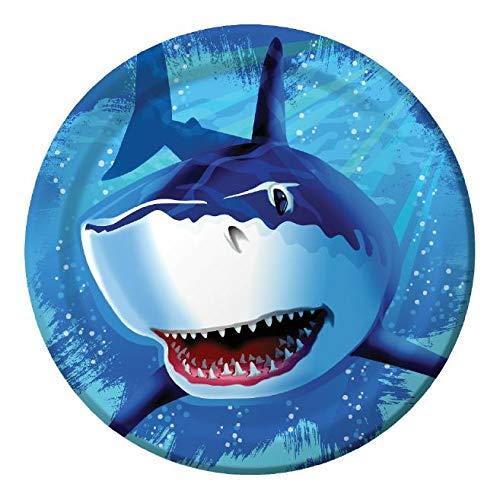 8 Teller * HAIE * für Party und Geburtstag // Kindergeburtstag Pappteller Partyteller Mottoparty Hai Shark Haifisch Fische