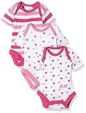 Twins 1 018 51-Body Bebé-Niños, paquete de 3, Mehrfarbig (Weiss/Pink 810013), 12 meses