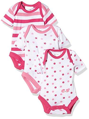 Twins Baby - Mädchen kurzarm Body im 3er Pack, Mehrfarbig (Weiss/Pink 810013), 74