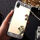 EINFFHO iPhone XR Hülle, Ultradünne Glänzend Glitzer Bling Kristall Strass Diamant Spiegel Schutzhülle Silikon Handy Hülle Schutz Bumper Etui für Apple iPhone XR, Gold