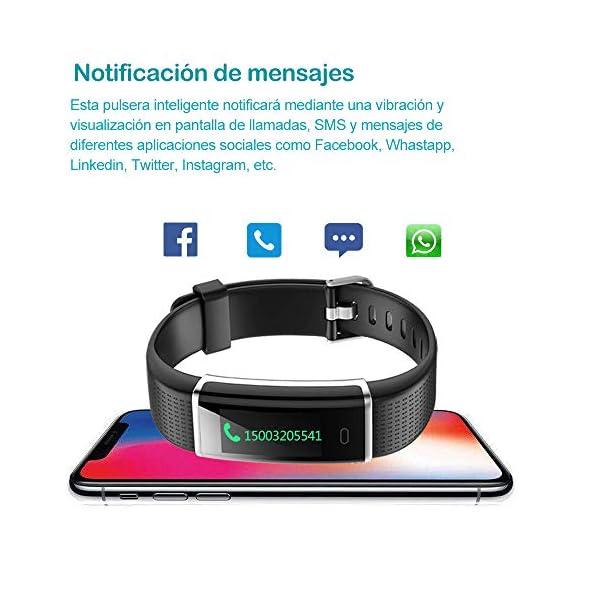 YAMAY Pulsera de Actividad Inteligente con Pulsómetro, Impermeable IP68 Smartwatch con 14 Moda Deportiva, Podómetro Pulsera Inteligente para Mujer Hombre Niño Reloj Inteligente Android y iOS Teléfono 5
