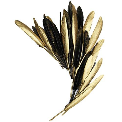 ERGEOB Gans Federn 50 stück Naturfedern 10-15cm/4-6 Zoll Länge ein Seite Gold ein Seit schwarz