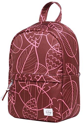 Mini Kosmetik-etui (OLETHA Damen Mini Klein Rucksack Handtasche | A4 Größe | 34x23x11cm | Rote Blätter)