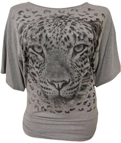 Damen Pailletten Tiger Animal Print Baggy Batwing Sortieren Ärmeln Top 14-24 Gr. 52, grau (Animal Print Folie Top)