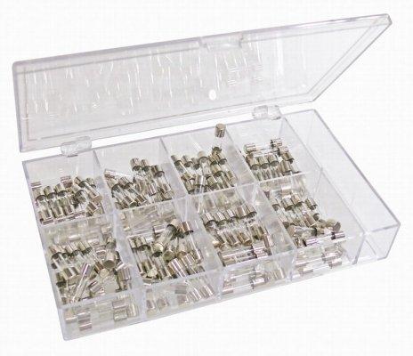Feinsicherungen in praktischer Sortimentsbox 160 Stück, 8 verschiedene Werte