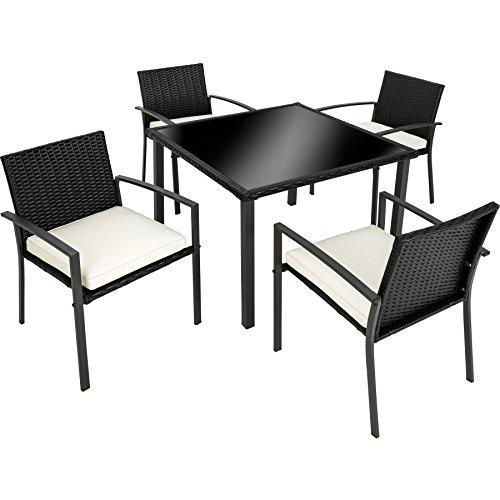 TecTake Salon de Jardin 4 Chaises 1 Table en Résine Tressée (Noir | n° 402588)
