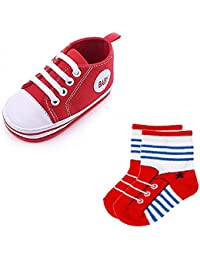 Lukzer Baby Unisex 1 Pair of Shoes and Socks (Random Design/Color) for Both Baby Boys and Baby Girls,Multi Color