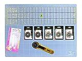 Snaply A2 Schneidematte Set inkl. 60 x 15 cm Lineal + Rollschneider + Haltegriff etc.