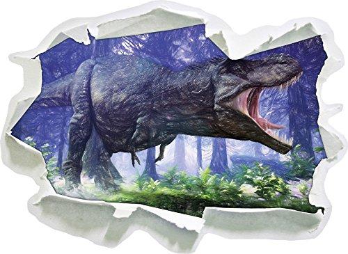 T-Rex Dinosaurier im Wald Kunst Buntstift Effekt, Papier 3D-Wandsticker Format: 92x67 cm...