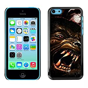 All Phone Most Case / Hard PC Metal piece Shell Slim Cover Protective Case Tasche Schutzhülle Hülle Für Apple Iphone 5C Wolf Angry Dog Red Eyes Art Face Teeth Muzzle