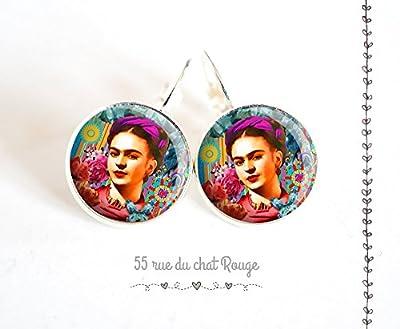 Boucles d'oreilles cabochon verre Frida Kahlo, Mexique, Bohême chic, gypsy, multicouleur
