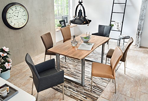 SAM® Stilvoller Esszimmertisch IDA aus Akazie-Holz, Baumkantentisch mit lackierten Beinen aus