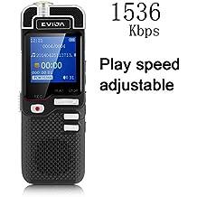 Grabador de Voz Digital EVIDA L60 1536Kbps Linearidad PCM 8GB con Ajuste de la Velocidad de Reproducción Construido en Mp3 Player Grabación Activada Por Voz Portátil Dictáfono de Audio Estéreo Diseño de la Aleación Aluminio Metal Grabadora Sonido de Alta Calidad
