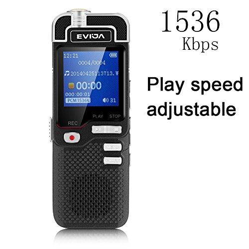 Digitales Diktiergerät von EVIDA L60 1536Kbps PCM Linearity 8GB mit Spielen Geschwindigkeit Anpassen Errichtet im Mp3 Spieler Stimme Aktiviert Aufzeic Tragbare Auto-dvd-spieler-fall