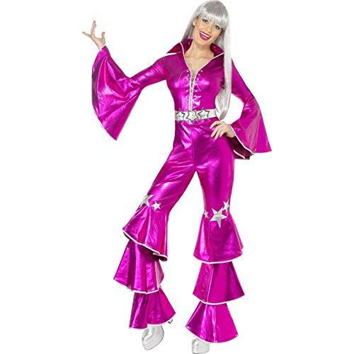 1970er Tanz-Traum Damenkostüm Rosa enthält Schnür-Jumpsuit, Medium