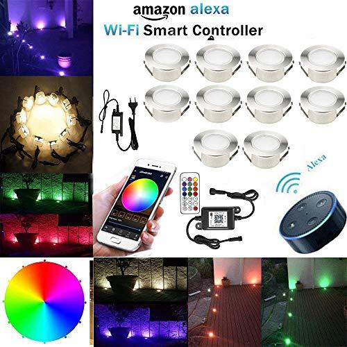 Lampe au Sol Spot Encastrable+Wifi contrôleur-Lumière RGBW (RGB+Blanc Chaud) étanche IP67 Ø61mm-éclairage pour terrasse, patio, chemin, mur, jardin, décoration, intérieur et extérieur