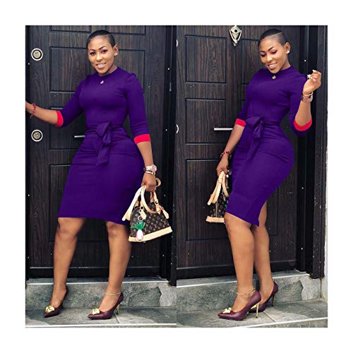 Women 3/4 Sleeve Solid Bodycon Club Party Cocktail Casual Formal OL Mini Dress Purple S