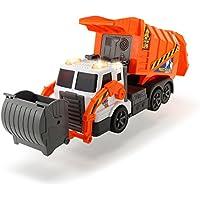 Dickie Toys 203308369 - Action Serie Garbage Truck, batteriebetriebene Müllabfuhr mit Mülltonne, 46 cm