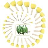 EMAGEREN 30 Piezas Pincel de Esponja Redonda Esponja para Pintar Esponja de Pintura Amarilla Brochas de Esponja Pintura de 5