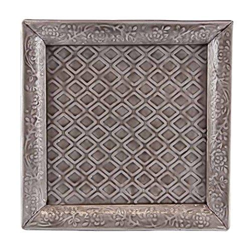 Better & Best 2781208 – Plateau de Fer émaillé carrée, avec Relief de Rhinestone, 30,5 x 30,5 x 2 cm, Couleur Gris