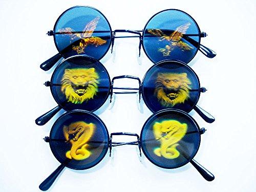 3-er Set Sonnenbrillen mit Hologramm / 3 Verschiedene Holo-Motive: Adler, Schlange, Löwe / Partybrille, Karnevalsbrille