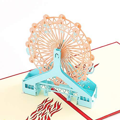 3D Pop Up Grußkarte Hochzeit / Neujahr / Geburtstagskarte, Geburtstagskarte zum Valentinstag / Weihnachtsgrußkarte für Frau Freundin Mutter Braut und Bräutigam (Riesenrad) -
