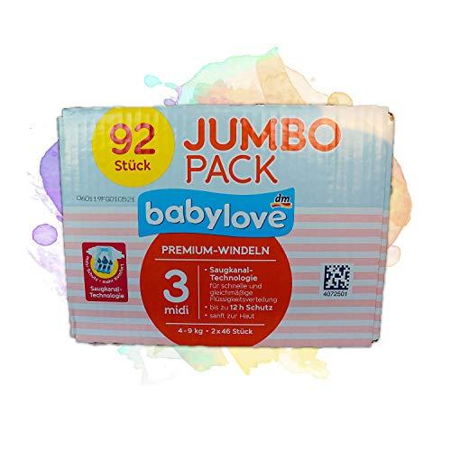 babylove Windeln Premium aktiv plus Größe 3, midi 4-9kg, Jumbo Pack 2x50 Stück, 100 St