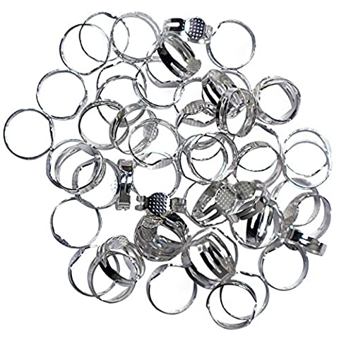 80 Pc Adjustable Metal Ring Blank Set by Kurtzy - Great For DIY Jewelry Making, Custom Jewellery Rings - With Glue On Pad For Gems and Beads - Adjusts To Fit Men, Women and