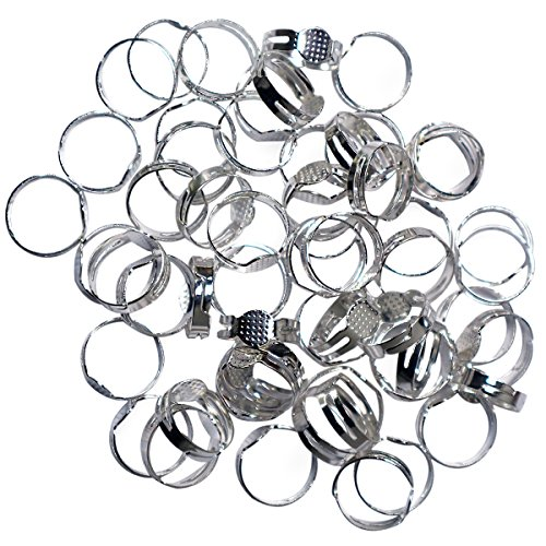 Einstellbar Ringrohlinge - 80 teiliges Metall-Ringe Rohlinge Set für Basteln,Herstellen von Schmuck,Handgemachte Ringe - Ringrohlinge silber mit Kleber inklusive zum Anbringen von Edelsteinen und Perl