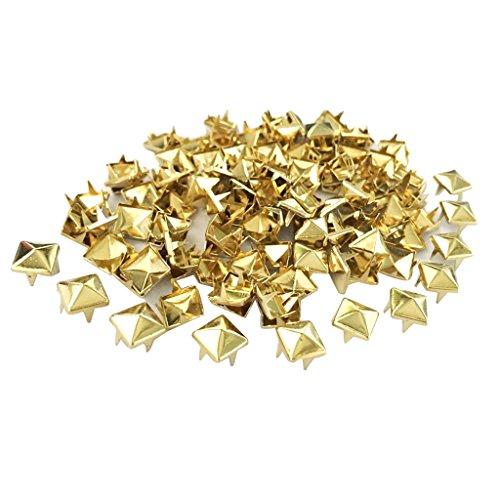 perfk 100 Piezas Roblones de Metal Décor Rivet Pirámide Cobre Tachuelas Útiles Arte - Oro