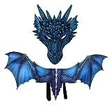 Hamkaw Halloween Evil Dragon Kostüm, 3D Print Realistische Dinosaurier Kostüm Maske Flügel...