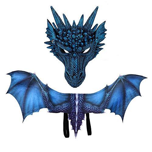 Hamkaw Halloween Evil Dragon Kostüm, 3D Print Realistische Dinosaurier Kostüm Maske Flügel Zubehör für Kinder und - Realistische Dinosaurier Kostüm Kinder