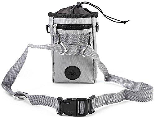 Leetop Premium Leckerli-Beutel Futtertasche für Hund und Pferd,Aufbewahrung von Hunde-Zubehör,Fach für Hundekotbeutel,Gürteltasche,Snackbeutel,Leckerlie -Tasche,Hundetraining(Gray) (Eine Haupt-tasche)