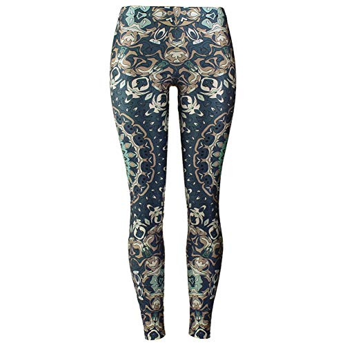 YUJIAKU Leggings Mujer Mandala Flor Impresión Digital Fitness Leggins Pantalones Elastic Workout Plus Size Legging