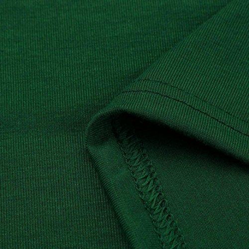 Manadlian Femmes T-Shirt Robe à Manches Longues Poche Occasionnels Soirée Lâche Vert