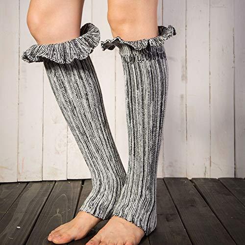 d die Vereinigten Staaten warme Bein Sätze Stricken Fuß Sets Wollstiefel Set Trompete Blume Mund Farbe gemischte Socken Socken (Color : Grey) ()