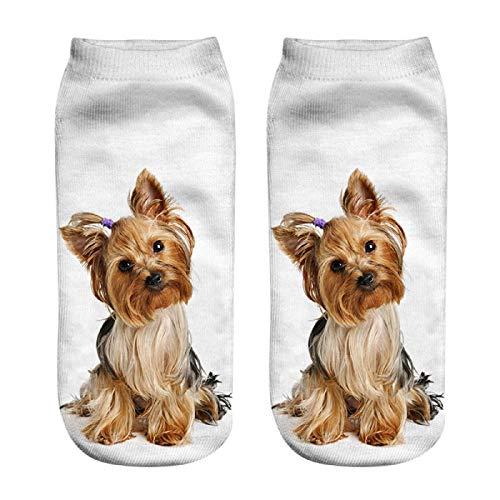 Barlingrock Lustige Unisex Kurze Socken 3D Hund Gedruckt Fußkettchen Socken Casual Socken, Bunte Funky Socken für Männer und Frauen, Mesh Top Frische Belüftungssocken -