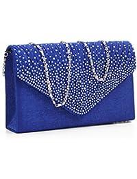 Brand New Ladies Diamond Envelope Clutch Bag Evening Party/ Bridal Wedding/ Hand Bag Royal Blue