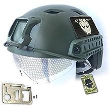 Ejército estilo militar SWAT combate BJ Base salto rápido casco w/gafas protectoras verde para CQB Shooting para Airsoft y Paintball